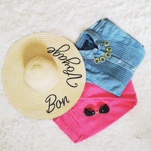 NWT, JustFab, sun hat, Bon Voyage, straw hat